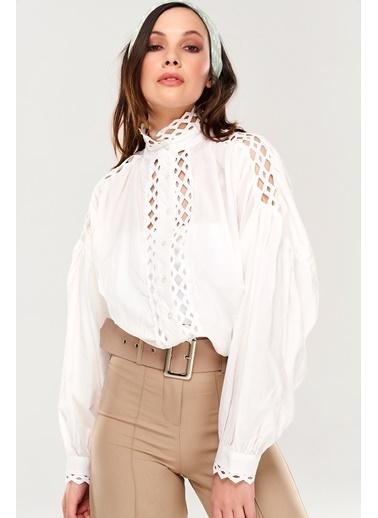 ESQ Güpür Detaylı Gömlek Beyaz